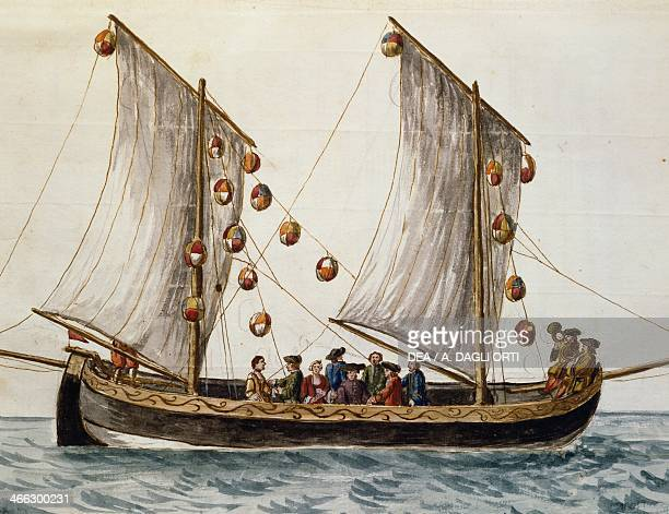 Venetian boat decked out for the Feast of the Redeemer by Jan Grevenbroeck watercolour Italy 18th century