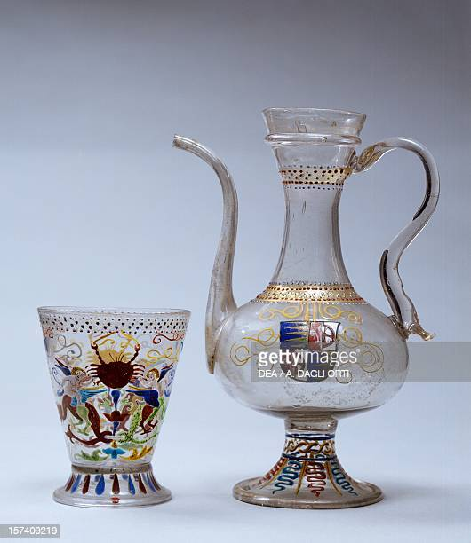 Venetian drinking cup and jug in glass decorated with polychrome enamel Venice Italy 16th century Prague Umeleckoprumyslové Muzeum V Praze