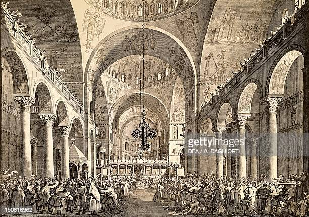 Venetian festival the newly elected Doge of Venice being presented to the people in San Marco Basilica by Giovanni Antonio Canal known as Canaletto...