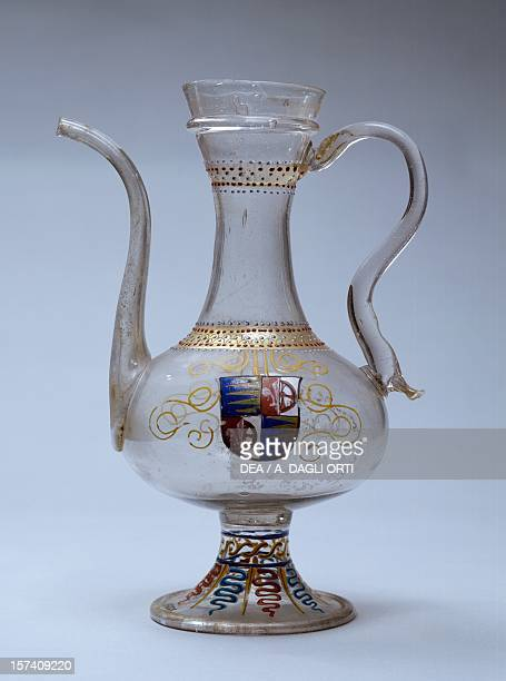 Venetian glass jug decorated with polychrome enamel Venice Italy 16th century Prague Umeleckoprumyslové Muzeum V Praze