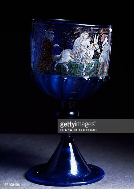 Venetian goblet decorated with blue glass and polychrome enamel Flight into Egypt 14601470 Italy 15th century Bologna Museo Civico Medievale