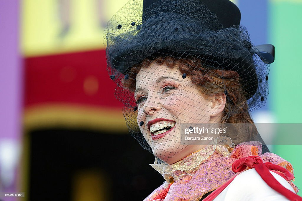 Venetian Marta Finotto performs as 'Colombina' during the Volo dell'Angelo at the official opening of Venice Carnival at Piazza San Marco on February 3, 2013 in Venice, Italy. The Carnival which starts on February 2 and finishes on February 12, attracts thousands of tourists from all over the world.