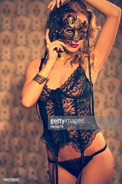 venetian masked blonde - corset stock pictures, royalty-free photos & images
