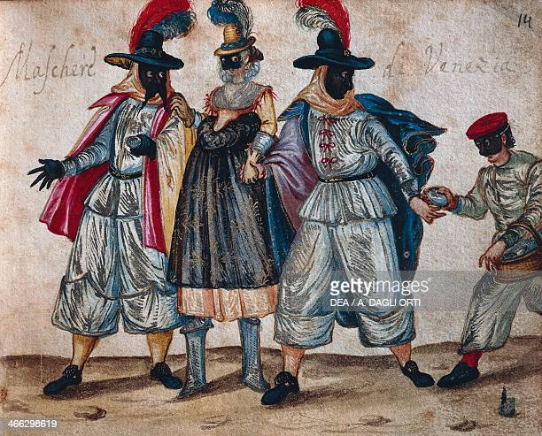 Venetian masked characters of during Carnival illustration from the Codex Bottacin Italy 17th century