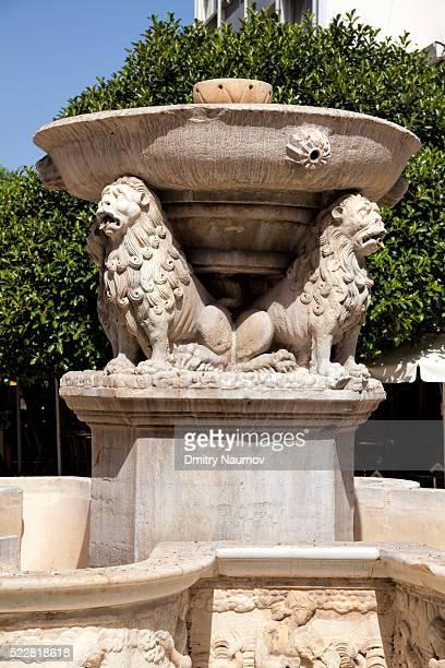 Venetian Morosini Fountain detail, Heraklion, island of Crete, Greece, Mediterranean