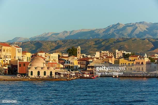 Venetian port and Turkish mosque, Chania, Crete island, Greece