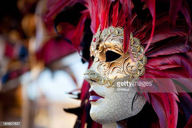 venetian red carnival mask, venice, italy - carnival stock photos and pictures