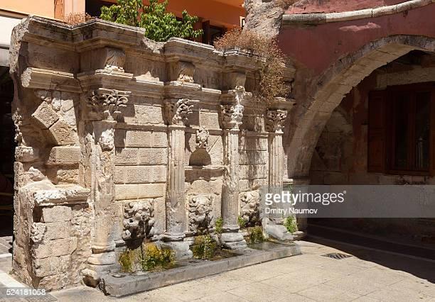 Venetian Rimondi Fountain in Rethymno old town, island of Crete, Greece, Mediterranean