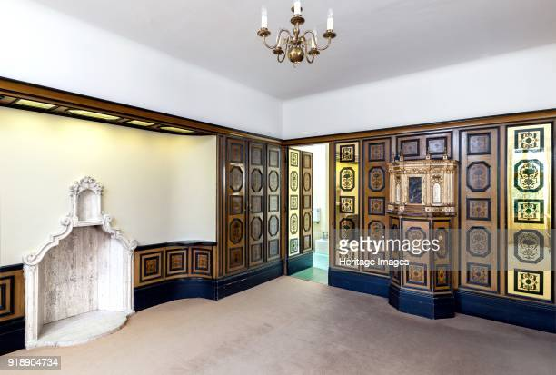 Venetian Suite Eltham Palace Greenwich London c2015 The Venetian suite bedroom with mirrored panels chimney piece by Peter Malacrida and late 17th...