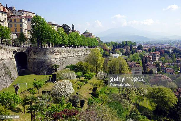 Venetian walls  in springtime in Bergamo old city