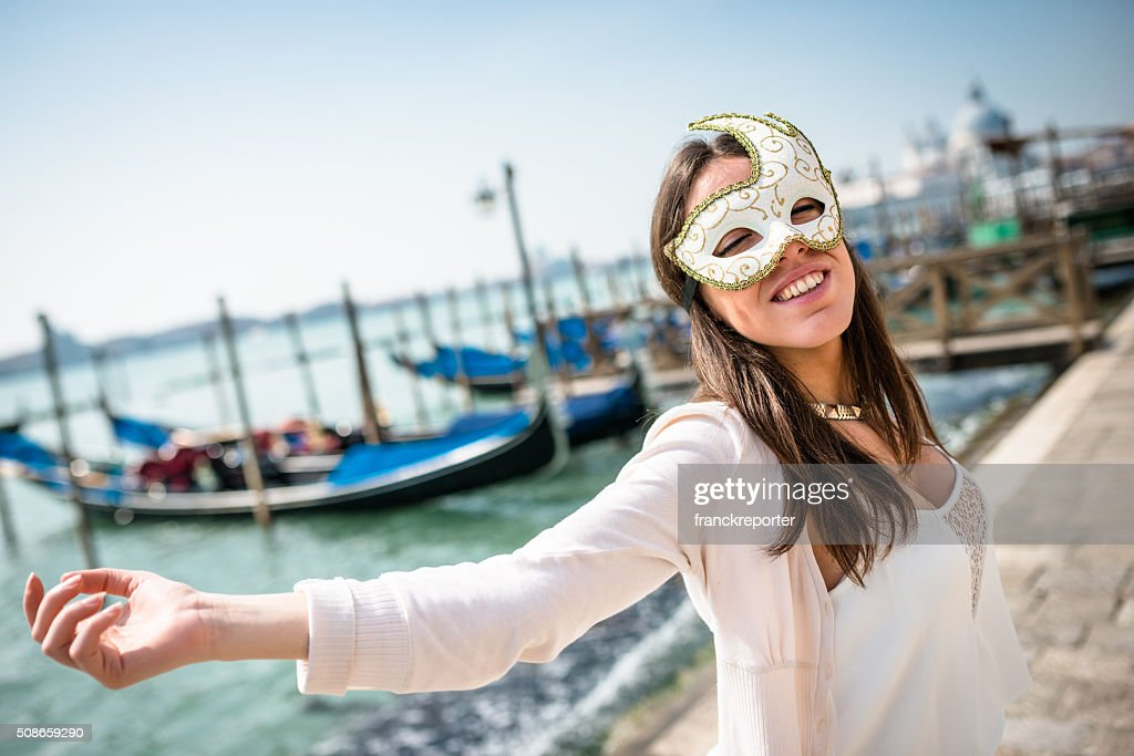 venetian woman for carnival in venice : Stock Photo