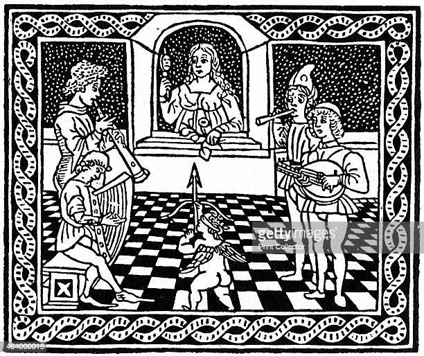 Venetian woodcut c1500 An illustration from Luigi Pulci's Driadeo d'Amore A print from A History of Wood Engraving by Douglas Percy Bliss Spring...