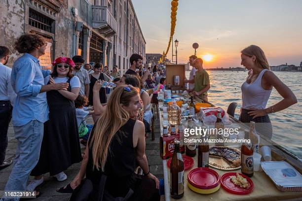 Venetians during the Feast of the Redentore on July 20 2019 in Venice Italy Redentore which is in remembrance of the end of the 1577 plague is one of...