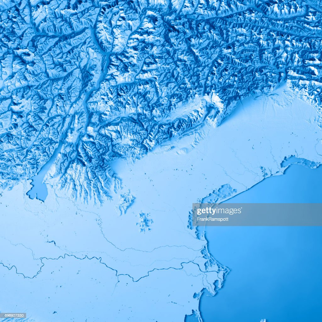 Topographic Map Italy.Veneto State Italy 3d Render Topographic Map Blue Stock Photo