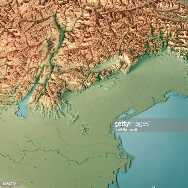 veneto state italy 3d render topographic map - veneto stock pictures, royalty-free photos & images