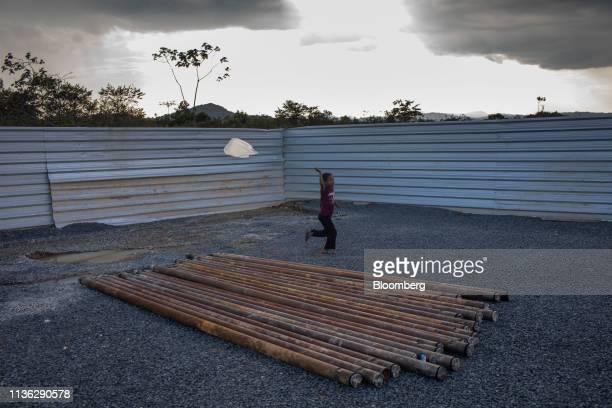 Venezeulan child plays inside a refugee shelter near the Venezuelan border in Pacaraima, Brazil, on Wednesday, April 10, 2019. Venezuelan refugees...