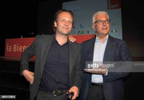 Venezia, . 53a Biennale arte. Daniel Birnbaum, direttore dell'esposizione artistica. Qui ripreso con il presidente della Biennale, Paolo Baratta.AFP...