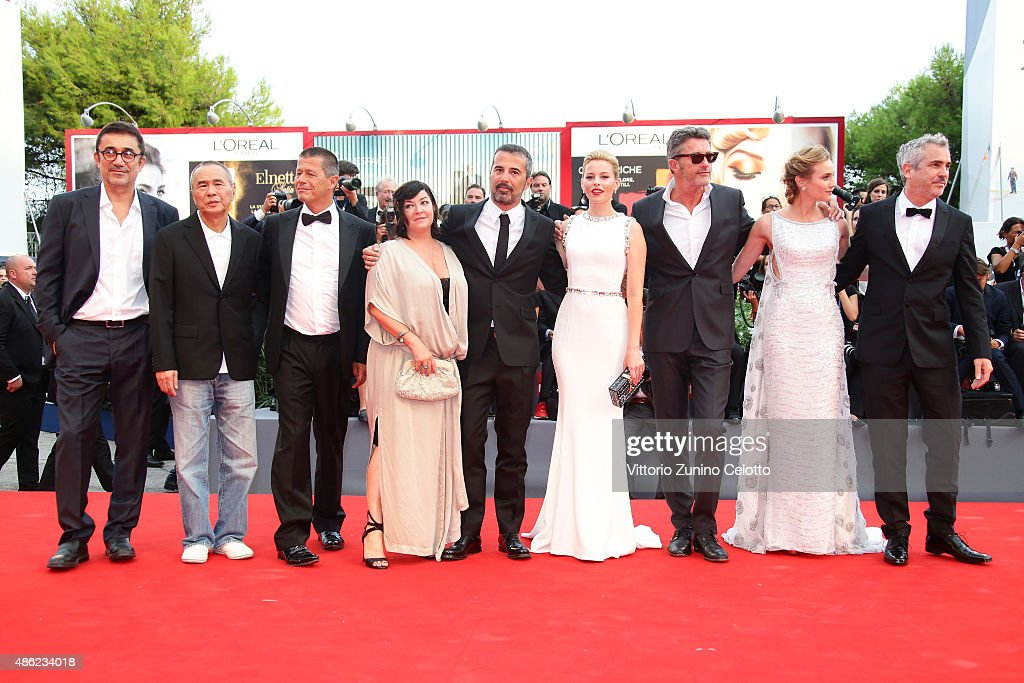 Venezia 72 jury members (L- R) Nuri Bilge Ceylan, Hou Hsiao-Hsien, Emmanuel Carrere, Lynne Ramsay, Francesco Munzi, Elizabeth Banks, Pawel Pawlikowski, Diane kruger and President Alfonso Cuaron attend the opening ceremony and premiere of 'Everest' during the 72nd Venice Film Festival on September 2, 2015 in Venice, Italy.
