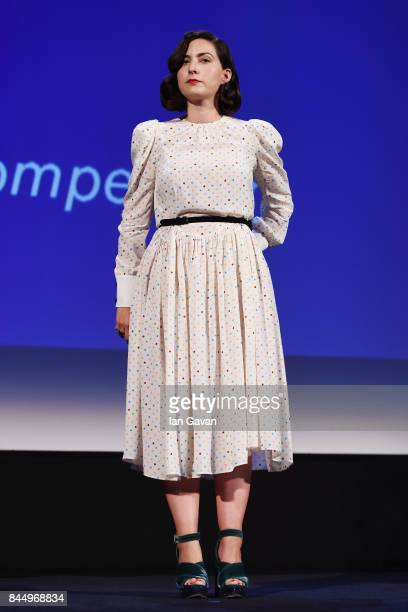 'Venezia 74' jury member Rebecca Zlotowski is on the stage during the Award Ceremony of the 74th Venice Film Festival at Sala Grande on September 9...