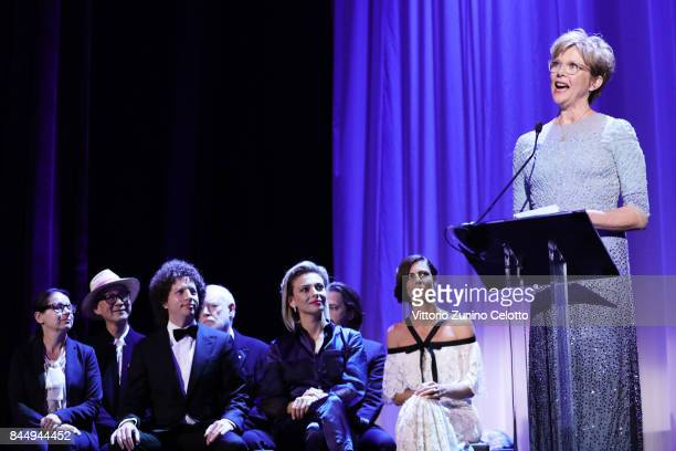 'Venezia 74' jury president Annette Bening speaks on the stage with 'Venezia 74' jury members Ildiko Enyedi Yonfan Michel Franco David Stratton...