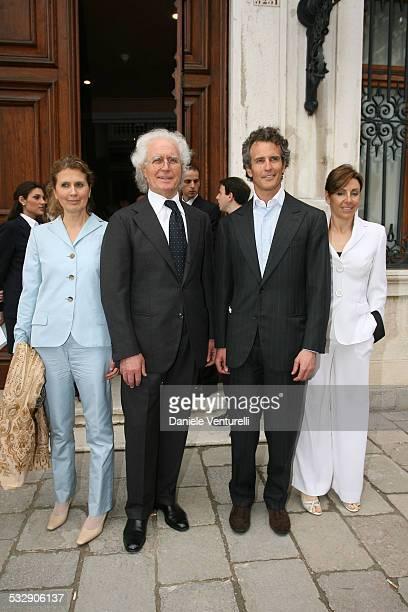 Venezia a Palazzo Grassi Francois Pinault innaugura la Mostra ' Where Are We Going' Luciano Benetton con al compagna Laura Debora Compagnoni e il...