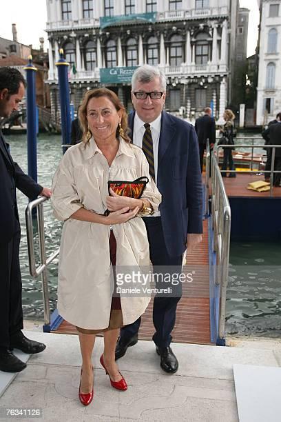 """Venezia a Palazzo Grassi Francois Pinault innaugura la Mostra """" Where Are We Going"""" Miuccia Prada con il marito Patrizio Bertelli"""