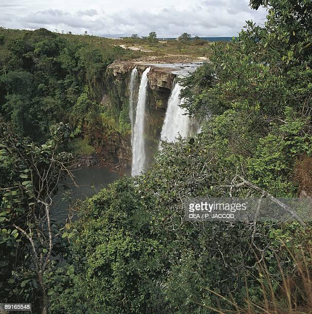 Venezuela Bolivar Canaima National Park Great Savannah Camameru waterfall