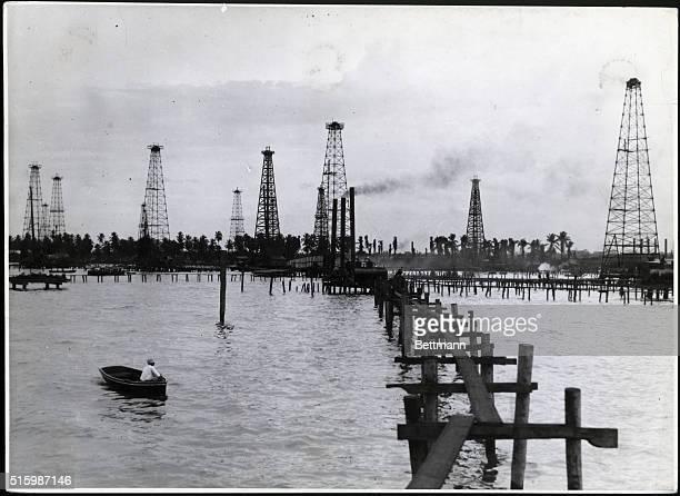 Derricks in Maracaibo oil fields of Santa Maria Undated photograph