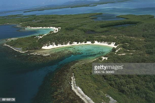 Venezuela Falcon Morrocoy National Park one of islands which are part of protected wilderness area aerial view