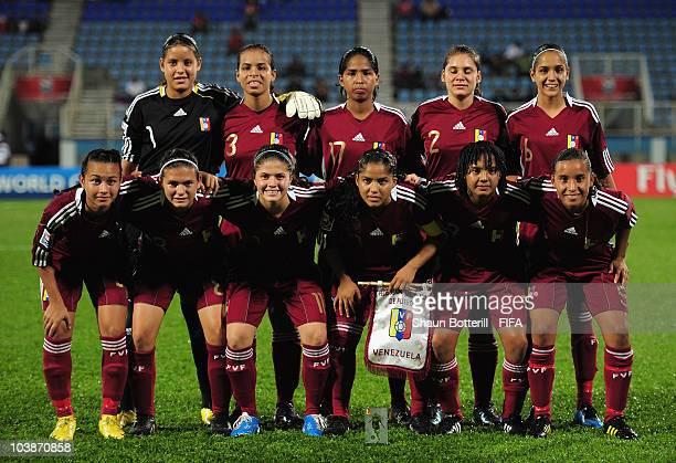 Venezuela lineup before the FIFA U17 Women's World Cup Group C match between New Zealand and Venezuela at the Ato Boldon Stadium on September 6 2010...