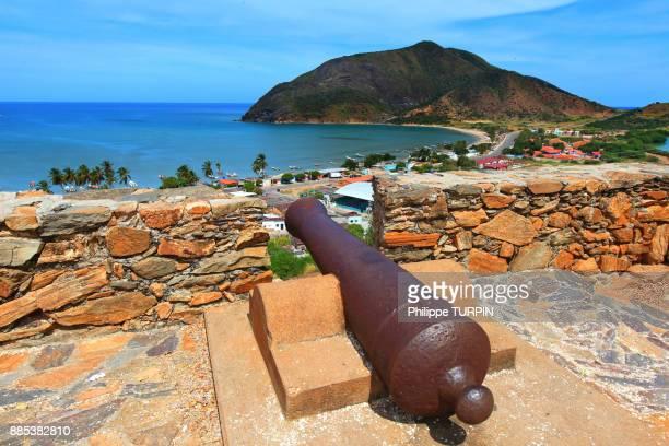 venezuela, margarita island. playa de la galera. fortin la galera - margarita beach stock photos and pictures