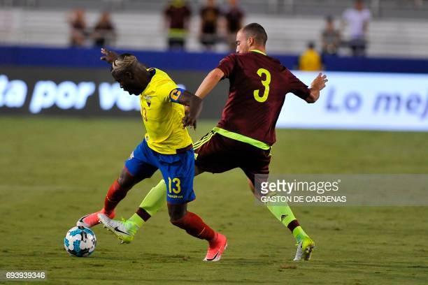 Venezuela Mike Villanueva vies for the ball with Ecuador's Enner Valencia during their friendly soccer match at FAU stadium in Boca Raton Florida...
