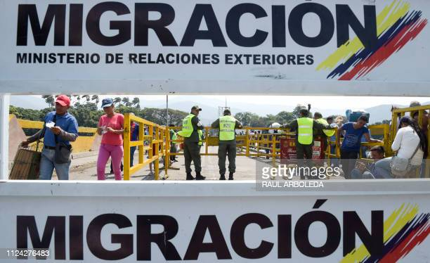 Venezuela National Guards stand guard on the Simon Bolivar International Bridge in Tachira Venezuela across the border with Villa del Rosario close...