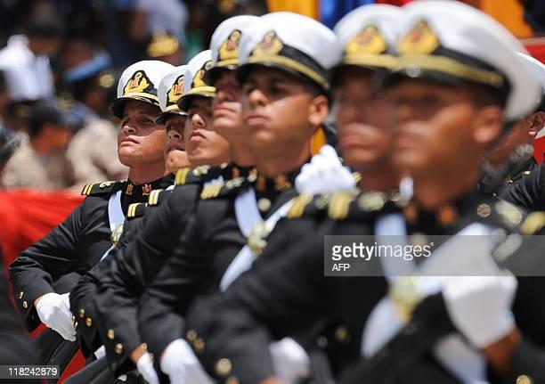 Venezuela navy cadets march during the parade commemorating Venezuela's Bicentennial in Caracas on July 5 2011 Venezuela celebrated the Bicentennial...
