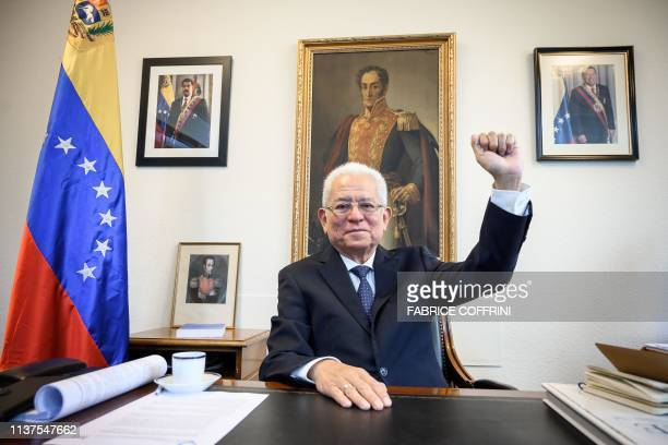 Venezuela Permanent representative to the United Nations in Geneva ambassador Jorge Valero poses during a interview with AFP at the permanent mission...