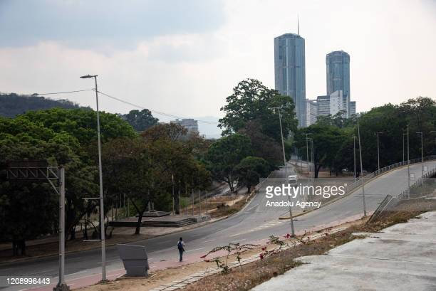 Venezuela Square is seen empty as a preventive measure against the new type of coronavirus pandemic in Caracas Venezuela on April 02 2020