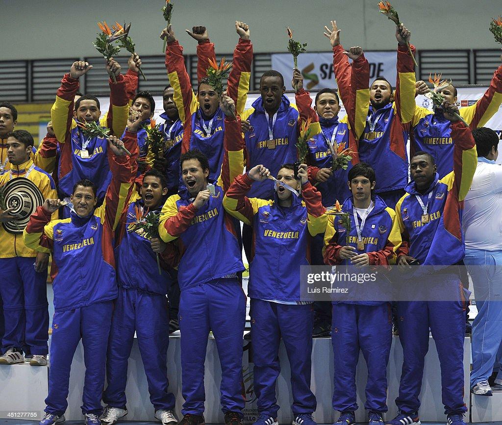 Venezuela Team gold medallist in HandBall as part of the XVII Bolivarian Games Trujillo 2013 at Coliseo Colegio San Agustin on November 21, 2013 in Chiclayo, Peru.
