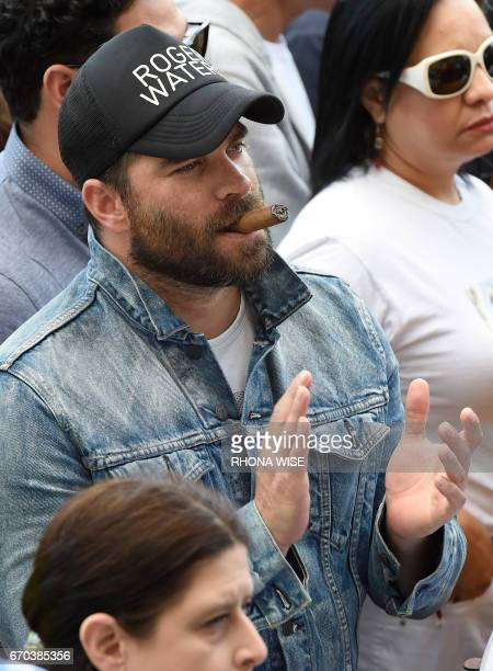 Venezuelan actor Alejandro Nones participates in a rally against the Venezuelan government in front of the Freedom Tower in Miami Florida April 19...