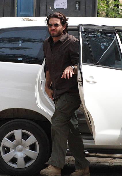 Venezuelan actor Edgar Ramirez arrives on the set of Kathryn Bigelow`s forthcoming film on Osama bin Laden in Chandigarh on March 11 2012 Under the...