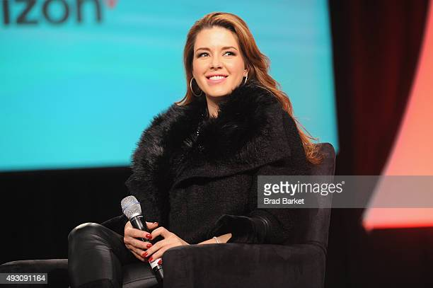 Venezuelan actress Alicia Machado speaks on stage at Festival PEOPLE En Espanol 2015 presented by Verizon at Jacob Javitz Center on October 17 2015...