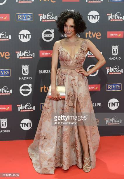 Venezuelan actress Arlette Torres poses on the red carpet during the 4th edition of the 'Premios Platino' for IberoAmerican Cinema awards ceremony in...