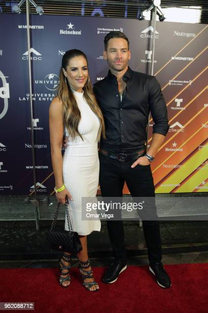 Venezuelan actress Gaby Espino and husband Cristóbal Lander pose during the 20th Billboard Latin Music Awards After Party red carpet at Jewel...