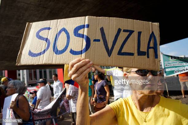 Venezuelan antigovernment protesters block traffic during a demonstration in Sao Paulo Brazil saturday Feb 02 2019 Venezuelan migrants held a rally...