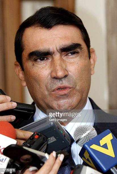 Venezuelan Army General Lucas Rincon the new Venezuelan Interior and Justice Minister speaks to the media at Miraflores Palacen after being sworn in...