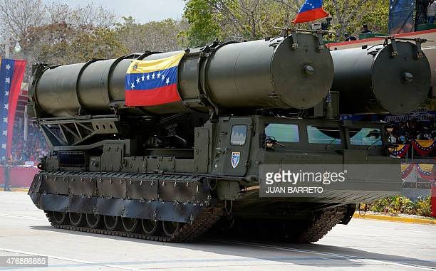 Venezuelan Army's Russianmade missile carrier during a military ceremony to commemorate President Hugo Chavez's death first anniversary in Caracas on...