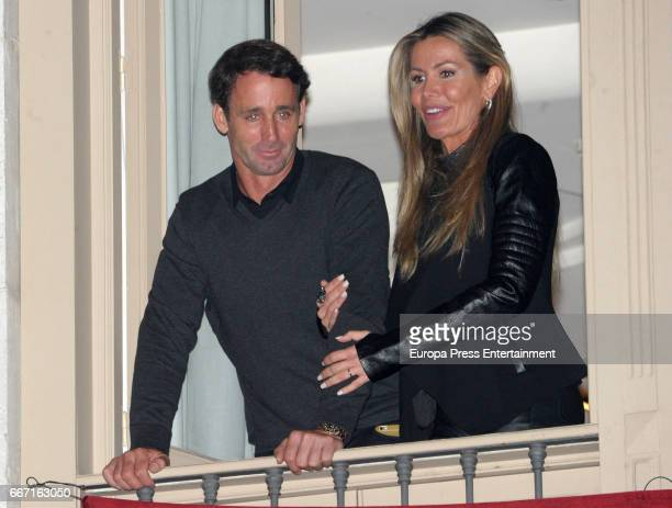Venezuelan celebrity Raquel Bernal and her husband Alvaro Muñoz Escassi attend a procession during the Holy Week celebrations on April 10 2017 in...