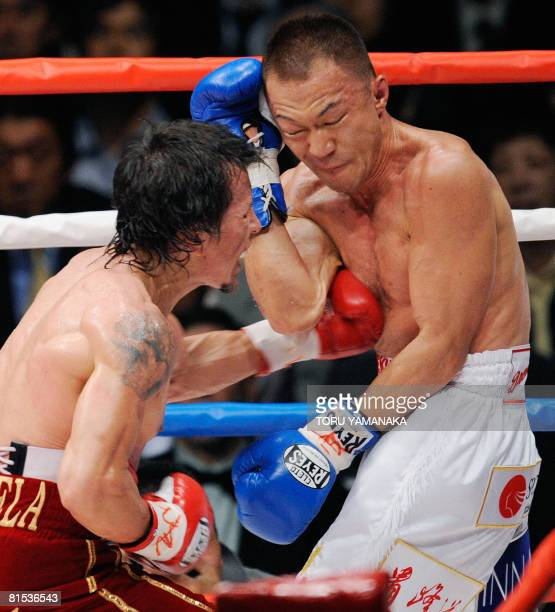 Venezuelan champion Edwin Valero strikes Japanese challenger Takehiro Shimada with a left during the 4th round of their WBA super featherweight title...