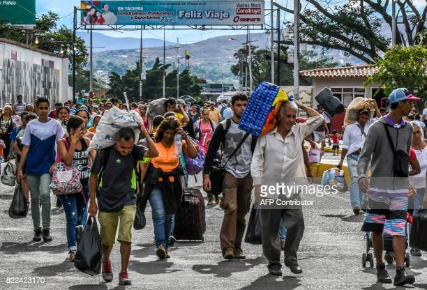 Venezuelan citizens cross the Simon Bolivar international bridge from San Antonio del Tachira Venezuela to Cucuta Norte de Santander Department...