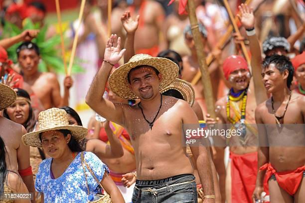 Venezuelan citizens dressed like indians and llaneros attend the commemoration of Venezuela's Bicentennial in Caracas on July 05 2011 Venezuela...
