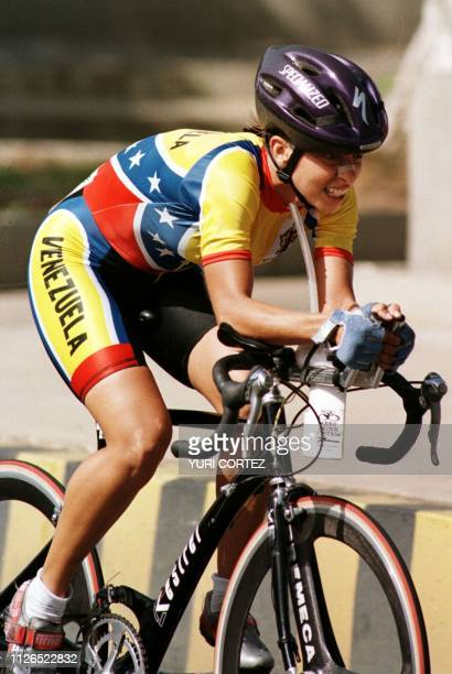 Venezuelan cyclist Androsy Dyana Paruta Allocca races in the 27kilometer cycling finals in Santa Rita Venezuela during the Central American and...